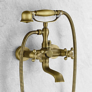 cheap Bathtub Faucets-Antique Tub And Shower Handshower Included Ceramic Valve Two Holes Two Handles Two Holes Antique Brass, Bathtub Faucet