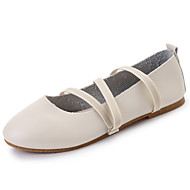 cheap Women's Flats-Women's Shoes PU Summer Comfort Flats Walking Shoes Low Heel Round Toe Lace-up for Casual White Black Dark Brown