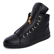 Χαμηλού Κόστους Black High Tops-Ανδρικά Παπούτσια Δέρμα Καλοκαίρι Φθινόπωρο Ανατομικό Αθλητικά Παπούτσια Περπάτημα Φερμουάρ για Causal ΕΞΩΤΕΡΙΚΟΥ ΧΩΡΟΥ Λευκό Μαύρο