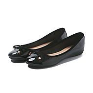 abordables Chaussures Plates pour Femme-Femme Flocage / Similicuir Eté / Automne Confort Ballerines Talon Plat Bout carré Noeud Noir / Rouge