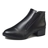 お買い得  レディースブーツ-女性用 靴 PUレザー 冬 コンフォートシューズ ブーツ フラットヒール ラウンドトウ ブーティー/アンクルブーツ のために カジュアル ブラック ライトブラウン