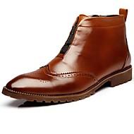 baratos Sapatos de Tamanho Pequeno-Homens sapatos Couro Envernizado Outono / Inverno Curta / Ankle / Coturnos Botas Botas Curtas / Ankle Preto / Marron / Vermelho / Festas & Noite