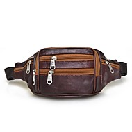 Men Bags Sheepskin Waist Bag Zipper for Outdoor All Seasons Black Purple Coffee Brown Dark Brown