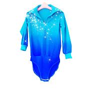 Maglia da pattinaggio artistico Per uomo Da ragazzo Pattinaggio sul ghiaccio Maglietta Blu pallido tintura sfumata Elastene Elevata elasticità Competizione Vestiti da pattinaggio sul ghiaccio Fatto a
