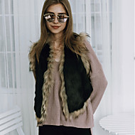 Women's Casual/Daily Work Simple Active Street chic Spring Fall Fur Coat,Leopard Color Block V Neck Sleeveless Short Faux Fur Polyester