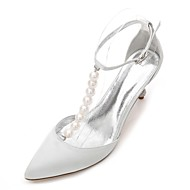 cheap Wedding Shoes-Women's Shoes Satin Spring Summer Ankle Strap T-Strap Novelty D'Orsay & Two-Piece Basic Pump Wedding Shoes Kitten Heel Cone Heel Low Heel