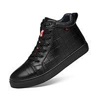 Men's Shoes Real Leather Cowhide Fall Winter Driving Shoes Comfort Bootie Sneakers Lace-up For Casual Office & Career Black