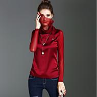 Feminino Camiseta Feriado Para Noite Vintage Fofo Moda de Rua Primavera Outono,Sólido Poliéster Gola Alta Manga Longa Média