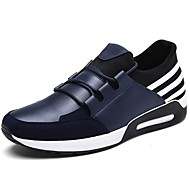 Men's Shoes Leather Spring Fall Comfort Athletic Shoes Walking Shoes Lace-up For Casual Blue Red Black