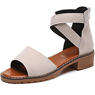cheap Women's Sandals-Women's Shoes Suede Summer Comfort Sandals Low Heel Open Toe Zipper for Casual Black Beige Gray
