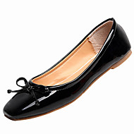 cheap Women's Flats-Women's Shoes Patent Leather Spring / Summer Comfort / Light Soles Flats Flat Heel Round Toe Bowknot Black / Red / Pink
