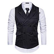 Homme Quotidien / Sortie Automne / Hiver Normal gilet, Rayé Noir & Blanc Créatures Fantastiques Col de Chemise Sans Manches Polyester Blanc / Noir / Gris Foncé L / XL / XXL / Mince