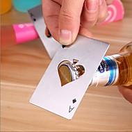 1pc pokerimuoto ruostumattomasta teräksestä valmistettu pullonavaaja sooda-olutpalkin työkalu
