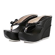 baratos Sapatos Femininos-Mulheres Sapatos Couro Ecológico Verão / Outono Conforto / Inovador / Chanel Sandálias Salto Plataforma Ponteira Laço Branco / Preto /