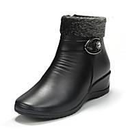 お買い得  レディースブーツ-女性用 靴 PUレザー 冬 秋 コンフォートシューズ コンバットブーツ ブーツ チャンキーヒール ラウンドトウ ベックル のために カジュアル ブラック ダークブラウン