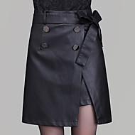 女性用 プラスサイズ ボディコン スカート - ソリッド, スリット