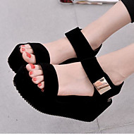 Feminino Sapatos Couro Ecológico Verão Conforto Sandálias Creepers Dedo Aberto Para Casual Branco Preto