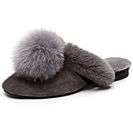 נשים נעליים נוצות\פרווה סתיו נוחות סוגי כפכפים עקב שטוח בוהן עגולה פום פום עבור קזו'אל אפור חום