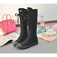 cheap Plus Size Shoes-Women's Shoes Canvas Spring Fall Comfort Boots Flat Heel Round Toe Knee High Boots Lace-up for Casual Dress White Black