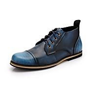 Masculino sapatos Couro Outono Inverno Curta/Ankle Botas Botas Curtas / Ankle Cadarço Para Casual Preto Marron Vermelho Azul