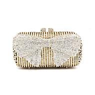 baratos Clutches & Bolsas de Noite-Mulheres Bolsas Metal Bolsa de Festa Laço(s) / Detalhes em Cristal Geométrica Dourado / Rhinestone Crystal Evening Bags / Rhinestone Crystal Evening Bags