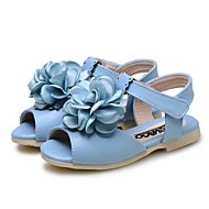 tanie Obuwie dziewczęce-Dla dziewczynek Buty Derma Lato Comfort Buty do nauki chodzenia Buty dla małych druhen Sandały Kwiat Na Ślub Formalne spotkania Beige