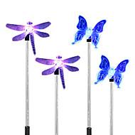 4kpl aurinko valkoinen / värin muuttuva sudenkorento perhonen puutarha vaarnan valo polku kävelytie lamppu