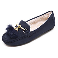 Women's Shoes Leatherette Fall Winter Fluff Lining Comfort Loafers & Slip-Ons Flat Heel Round Toe Feather For Casual Office & Career