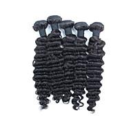 Tissages de cheveux humains Cheveux Péruviens Ondulation profonde 6 Mois 5 tissages de cheveux kg Mèches Rapides