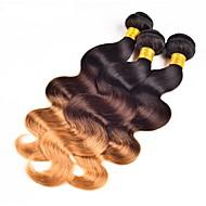 Χαμηλού Κόστους -Φυσικά Βραζιλιάνικη Ombre Κυματομορφή Σώματος Προσθετική μαλλιών 3 Κομμάτια Μαύρο / Medium Brown / Φράουλα Ξανθιά