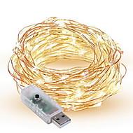 1.5W Cordões de Luzes 300 lm <5V V 10 m 100 leds Branco Quente Branco Vermelho Amarelo Azul Verde Roxo Rosa Multicolorido