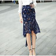 Damer I-byen-tøj Asymetrisk Nederdele Havfrue Trykt mønster Sommer