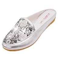 レディース 靴 PUレザー 春 ライト付きソール サンダル フラットヒール ラウンドトウ スパンコール 用途 カジュアル ゴールド ブラック シルバー