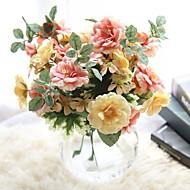 1 Peça 1 Ramo Poliéster Rosas Flor de Mesa Flores artificiais