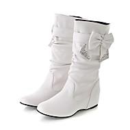 レディース ブーツ ファッションブーツ 秋 冬 レザーレット カジュアル ホワイト ブラック イエロー レッド 1インチ以下