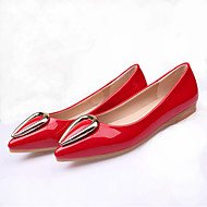 Women's Shoes Patent Leather Summer Fall Moccasin Flats Flat Heel Pointed Toe Rivet For Casual Office & Career Almond Red Gray Black