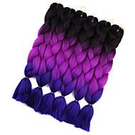 """abordables -Tresses Jumbo Tresse Natté Tresses au Crochet 24 """" Rajouts Colorés Cheveux 100 % Kanekalon Noir / Violet foncé / Violet Noir / Brun foncé"""