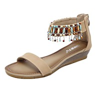 cheap Women's Sandals-Women's Shoes Leatherette Spring Summer Comfort Sandals Wedge Heel Round Toe Tassel for Casual Dress Black Blue Almond