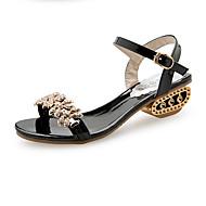baratos Sapatos Femininos-Mulheres Sapatos Couro Ecológico Primavera / Verão Conforto Sandálias Salto Robusto Dedo Aberto Pedrarias / Pérolas Sintéticas / Presilha