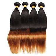 Virgem Cabelo Brasileiro Âmbar Liso Extensões de cabelo 4 Preto / Medium Auburn