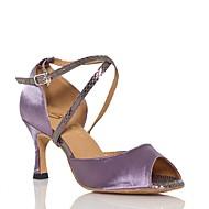 baratos Sapatilhas de Dança-Mulheres Sapatos de Dança Latina Seda Sandália Cruzado Salto Cubano Personalizável Sapatos de Dança Roxo / Verde / Espetáculo / Couro