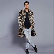 Masculino Casaco de Pêlo Festa Tamanhos Grandes Moda de Rua Punk & Góticas Inverno,Leopardo Longo Pêlo Sintético Colarinho de Camisa