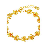 Mulheres Pulseiras em Correntes e Ligações Floral Luxo Flores Chapeado Dourado Flor Jóias Casamento Presente Jóias de fantasia
