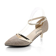 cheap Women's Heels-Women's Shoes PU Spring Summer Light Soles Heels Low Heel Pointed Toe Buckle For Casual Silver Gold