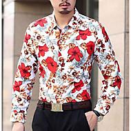 Pánské Květinový Párty Běžné/Denní Jednoduché Košile-Jaro Podzim Bavlna Polyester Košilový límec Dlouhý rukáv Střední