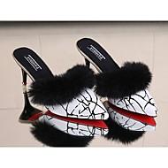 Dames Schoenen PU Herfst Comfortabel Klompen & Muiltjes Stilettohak Gepuntte Teen Veer Voor Causaal Wit Zwart Rood