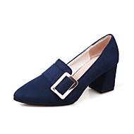 Feminino Sapatos Flanelado Primavera Outono Conforto Saltos Salto Grosso Dedo Apontado Presilha Para Preto Azul Escuro Vinho