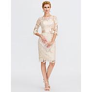 Ίσια Γραμμή Illusion Seckline Μέχρι το γόνατο Όλο δαντέλα Φόρεμα Μητέρας της Νύφης με Φιόγκος(οι) με LAN TING BRIDE® / Ψευδαίσθηση / See Through