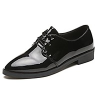 cheap Women's Oxfords-Women's Shoes Patent Leather Fall Comfort Oxfords Low Heel Pointed Toe Lace-up for Outdoor Black Burgundy