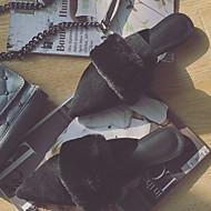 レディース 靴 合成マイクロファイバーPU 夏 秋 コンフォートシューズ モカシン 下駄とミュール チャンキーヒール ポインテッドトゥ ポンポン 用途 カジュアル ドレスシューズ ホワイト ブラック